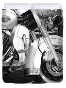 White Harley Davidson Bw Duvet Cover
