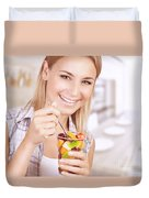 Healthy Eating Woman Duvet Cover