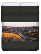 High Angle View Of A River Passing Duvet Cover