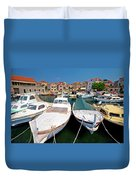 Island Of Prvic Harbor And Waterfront View In Sepurine Village Duvet Cover
