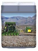 John Deere Cotton Pickers Harvesting Duvet Cover
