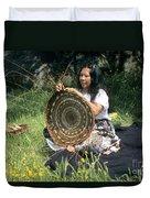Kashia Pomo Woman Weaving Duvet Cover