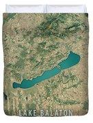 Lake Balaton 3d Render Satellite View Topographic Map Duvet Cover