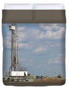 Land Oil Drilling Rig On Oilfield Duvet Cover