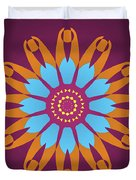 Landscape Purple Back And Abstract Orange And Blue Star Duvet Cover