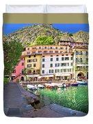 Limone Sul Garda Turquoise Harbor Panoramic View Duvet Cover