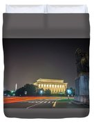 Lincoln Memorial Monument With Car Trails At Night Duvet Cover