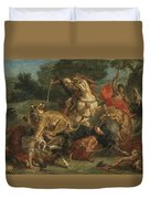 Lion Hunt Duvet Cover
