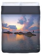 Lone Fisherman At Low Tide  Duvet Cover