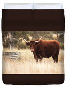 Longhorn Cow In The Paddock Duvet Cover