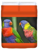 2 Lories In Discussion Duvet Cover