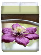Clematis Flower On Water Duvet Cover
