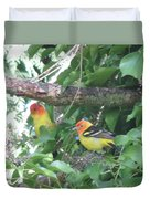 2 Male Western Tanagers Duvet Cover