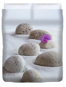Meditation Stones Pink Flowers On White Sand Duvet Cover