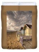 Mersea Island Beach Huts Duvet Cover