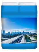 Miami Florida City Skyline And Streets Duvet Cover