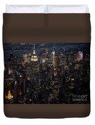 Midtown West Manhattan Skyline Aerial At Night Duvet Cover