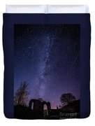 Milky Way Over The Ruins Of Strata Florida Abbey, Wales Uk Duvet Cover
