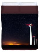 Milky Way Over The Wind Turbine Duvet Cover