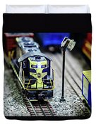 Miniature Toy Model Train Locomotives On Display Duvet Cover