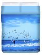 Morning Sunrise Over Ocean Waters Duvet Cover