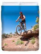 Mountain Biking The Porcupine Rim Trail Near Moab Duvet Cover