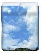 Natural Scenery With Mountains And Cloudy Sky. Duvet Cover