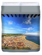 Nazare Portugal Skyline Duvet Cover