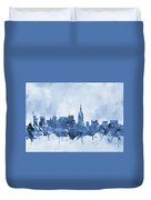 New York Skyline-blue Duvet Cover