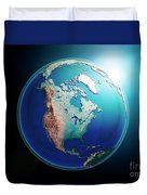 North America 3d Render Planet Earth Dark Space Duvet Cover