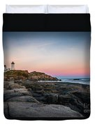 Ocean Lighthouse At Sunset Duvet Cover