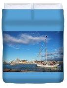 Old Sailing Boats In Helsinki City Harbor Port Finland Duvet Cover