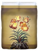 Orange Orchid Flowers Duvet Cover