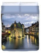 Palais De L'isle And Thiou River In Annecy Duvet Cover