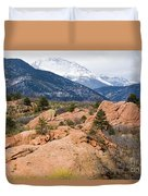 Pikes Peak From Red Rocks Canyon Duvet Cover