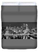 Pittsburgh Pennsylvania Skyline At Night Panorama Duvet Cover