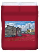 Poppies At The Tower Of London Duvet Cover