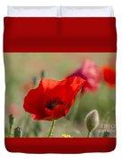 Poppies In Field In Spring Duvet Cover