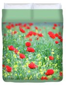 Poppy Flowers Meadow Spring Season Duvet Cover