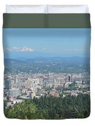 Portland Skyline With Mount Hood Duvet Cover