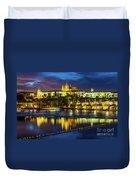 Prague Skyline At Sunset Duvet Cover