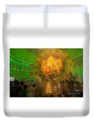 Priest Praying To Goddess Durga Durga Puja Festival Kolkata India Duvet Cover