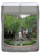 Public Fountain And Gardens In Palma Majorca Spain Duvet Cover