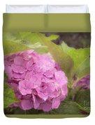 Purple Hydrangea At Rainy Garden In June, Japan Duvet Cover