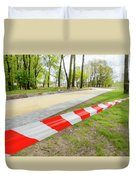 Red And White Barricade Tape Duvet Cover