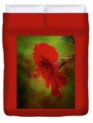 Red Hibiscus Art Duvet Cover
