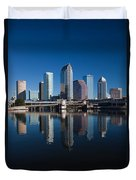 Reflection Of Skyscrapers On Water Duvet Cover