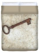 Rusty Key On Old Parchment Duvet Cover