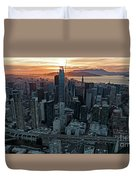 San Francisco City Skyline At Sunset Aerial Duvet Cover