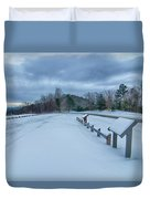 Scenic Views At Brown Mountain Overlook In North Carolina At Sun Duvet Cover